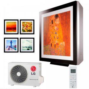 Внутренний и наружный блок кондиционера LG artcool Gallery, так же пульт дистанционного управления